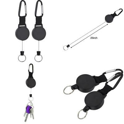Eboot Heavy-Duty Retractable Key Chain With 25 Inch Stainless Cable, 2 Pack