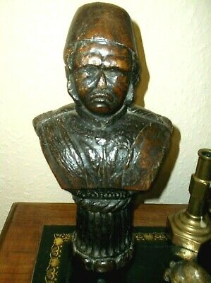 Very Rare Antique 19Th C Carved Large Oak Wooden Bust, General Gordon Of Kartoum