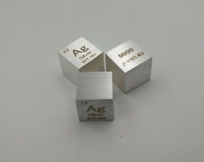 New 10mm Silver Cube 99.99% Pure Ag Density Cube Specimen Element Collection