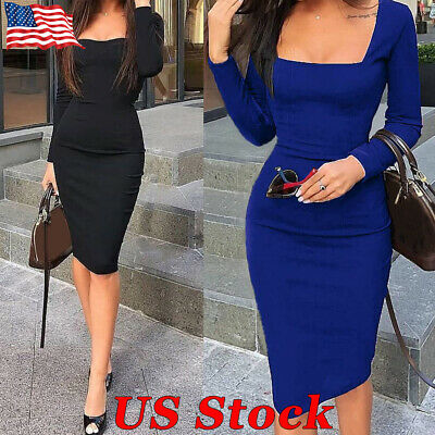 Womens Sexy Square Neck Long Sleeve Bodycon Knee Length Plain Party Office Dress
