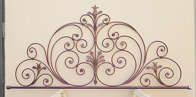 Bed Header for Double Bed Wrought Iron Headboard a Tail Peacock Vintage 11