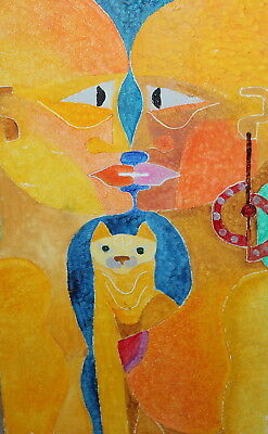 Abstract Expressionist Animals Oil Painting Signed