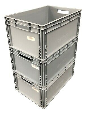 3 x 56 Ltr USED Heavy Duty Plastic Stacking Euro Storage Containers Boxes Crates
