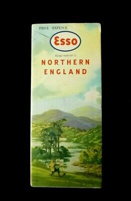 1950's /1960's ESSO Road Map No.5 NORTHERN ENGLAND  Based on Ordnance Survey Map