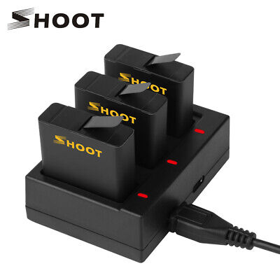 SHOOT for GoPro Hero 7 6 5 Black Three/Dual AHDBT-501 Battery with USB Charger