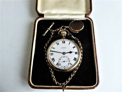 A rolex military 9ct pocket watch & 9ct chain & swivel fob. 1922. my ref no 120.