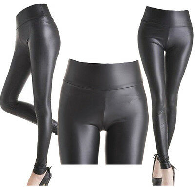 Ladies High Waist Black Faux Leather Leggings Wet Look Stretch Tight Trousers A1