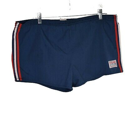 Vintage Catalina Blue Mens Swim Trunks Red White Racing Stripe Sz 36