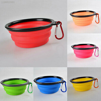 F323 Travel Folding Silicone Pet Dog Cat Water Food Bowl Cup with Carabiner