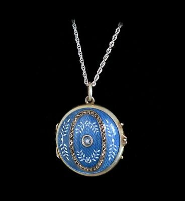 WOW STUNNING Rare Antique **STERLING ENAMEL GUILLOCHE JEWELED** Locket Necklace
