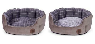 Petface Check and Bamboo Oval Dog or Cat Bed, Medium Grey Brown