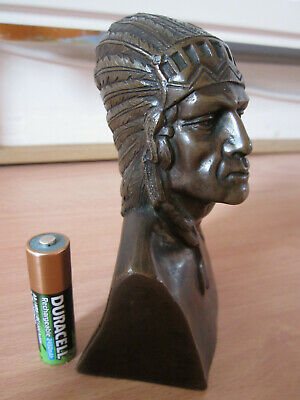 Old Solid Bronze Statue Bust Native American Indian Chief ( Motorcycle ??)
