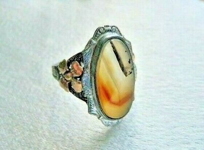 Magnificent Antique Ostby Barton 10K Sterling Floral Picture Agate Ring Sz. 7.5