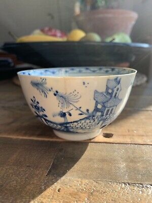 18th Century Blue And White Lowestoft Small Slop Bowl Large Tea Bowl