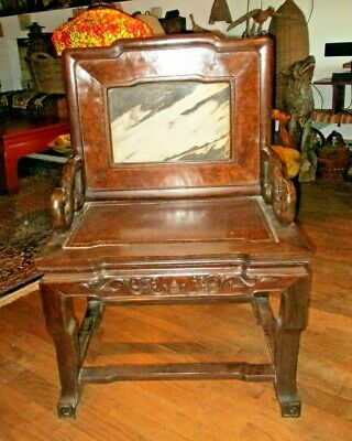 Antique Chinese STONE BACK THROWN CHAIR Early-Mid 19th Century MAGNIFICENT Rare!