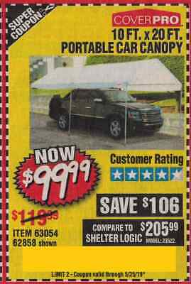 HARBOR FREIGHT COUP ON for 10 FT  X 20 Portable Car Canopy
