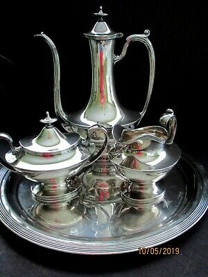 Vintage Reed and Barton Silverplate Tea/Coffee Set and Tray 4 Piece