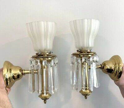 PAIR Antique Colonial 1910 Brass Crystal Wall Sconce Lustre Victorian Lamp
