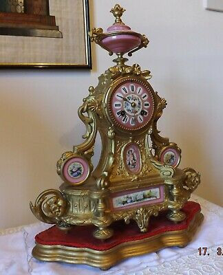 Beautiful Ornate 19th C Gilt and Pink Sevres French Mantle Clock