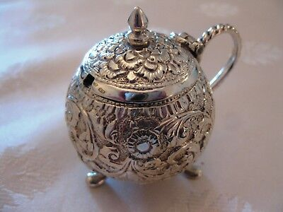 ANTIQUE INDIAN SILVER MUSTARD POT FOLIATE DECORATION 55 grams circa 1900