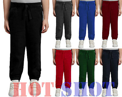 New Kids Boys Girls Fleece PE Gym School Jogging Bottoms Trousers Joggers Pants