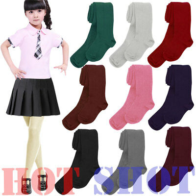 New Kids  Baby Girls Toddler Plain Cotton Rich Tights School Uniform All Sizes