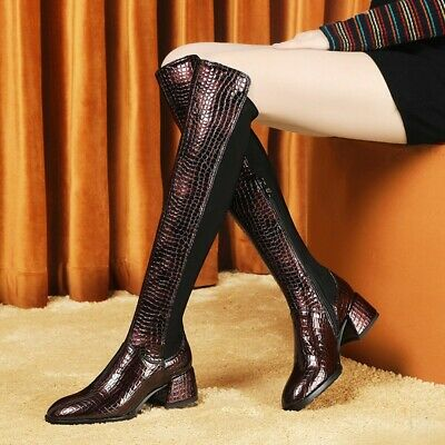 Women's Girls Knee High Long Boots With Crocodile Print Black Punk Shoes Outdoor