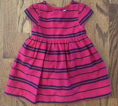 Ralph Lauren Baby Girl Magenta Navy Stripe Dress Cotton Short Sleeve Size 9m