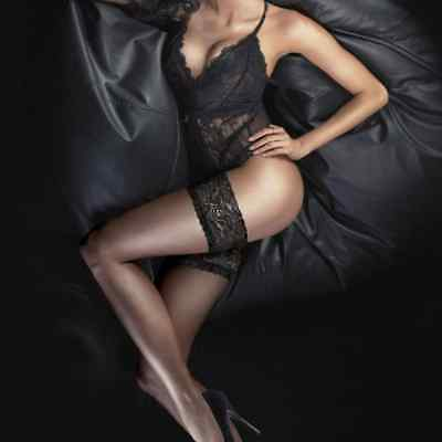 Couture Black Ultra Gloss Lace Top Hold Ups Stockings - 10 Denier