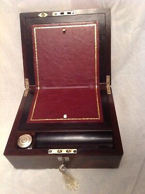 Fantastic Victorian Rosewood And M Of P Writing Slope /working Lock/key/Inkwell