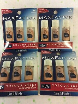 4 X Max Factor Colour Adapt Skin-tone Adapting Make-up #102 Medium Sample Cards.