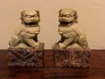 Vintage Antique Chinese Marble Carved Pair Foo Dog Guardian Lion Feng Shui 3.75""