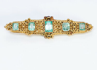 Marcus & Co. Antique Emerald Yellow Gold Brooch