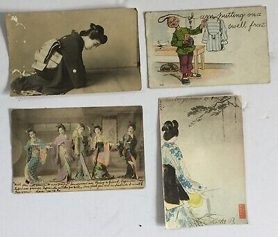 Lot of Japanese Chinese Antique Postcards - Old Estate