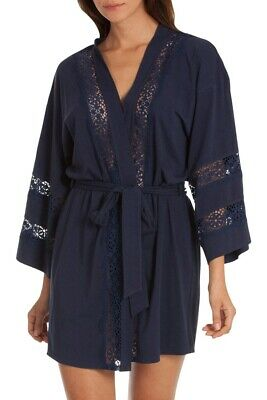 In Bloom by Jonquil Women's Wrap Navy Short w/ Lace Robe Size Medium/Large NWT