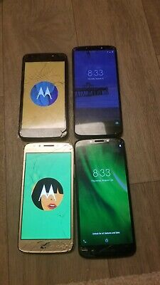 4 Lot Motorola Phones for Parts/As is G6 Play & E4 Cracked Glass Good LCD