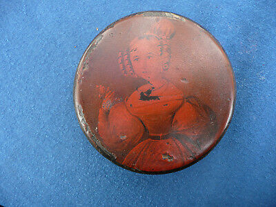 ANTIQUE 19th CEN CIRCULAR PAPIER MACHE SNUFF BOX PATCH , YOUNG LADY GIRL ON LID