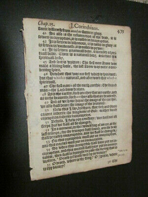 1612-KJV-New Testament Leaf-1st Corinthians 15 and 16-The RAPTURE!!
