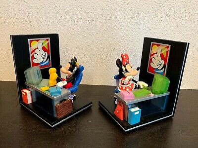 Disney Mickey Mouse Bookends At The Office  Mickey Minnie Mouse Retired RARE