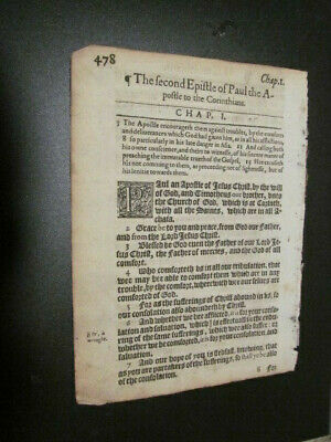 1612-KJV-New Testament Leaf-Title Page to 2nd Corinthians!!!