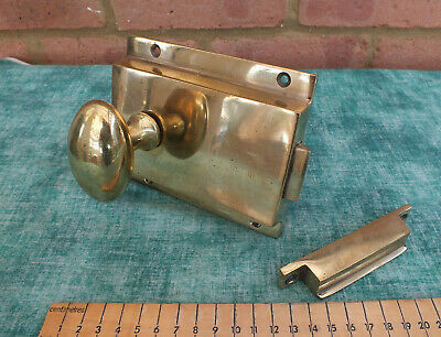 Antique Victorian Keyless Bronze / Brass Door Rim Lock,Handles & Keep ~ Working