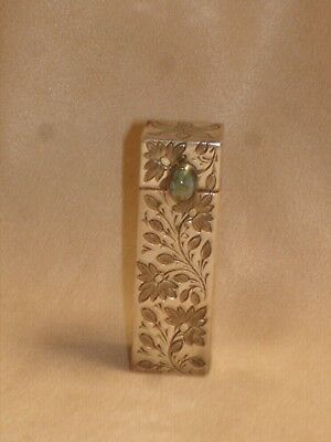 Vintage Sterling Silver Lipstick  Case  Compact With  Mirror