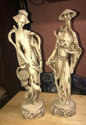 """Vintage Chinese Woman & Man Statue Figurines 21"""" Tall"""
