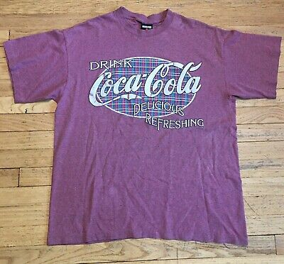 Coca Cola Shirt Vintage Logo Red Sz XL Drink Coke Classic Tee Single Stitch