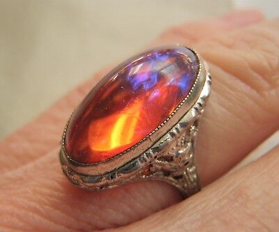Rarest Antique Ostby Barton Sterling Filigree Dragon's Breath Ring Sz 5.25