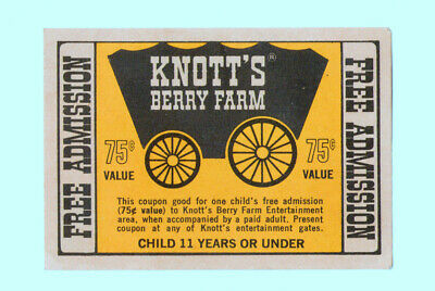 Rare 1960's Children's Free Admission Ticket Knotts Berry Farm Hills Bros Coffee