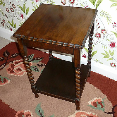 Antique Oak Occasional Table with Barley Twist Supports Pie Crust Top, Vintage