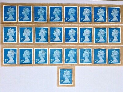25X  2Nd Class Unfranked Stamps Self Adhesive Easy Peel F/V £15.25