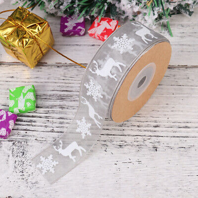 Christmas Ribbon Snowflake Deer Pattern Craft Trim Ribbon Gift Wrapping Tape