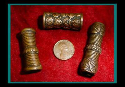 Three (3) ANTIQUE Hand Made BRONZE Hair Pipe ORNAMENT TUBE BEADS - Item eth-428